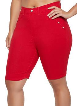 Plus Size Stretch Pull On Bermuda Shorts - 0960063402440