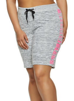 Plus Size Blessed Graphic Sweat Shorts - 0960063404770