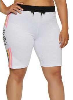 Plus Size Multi Color Love Graphic Sweat Shorts - 0960063404830