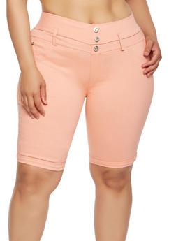 Plus Size High Waisted Bermuda Shorts - 0960063405251