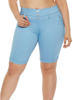 Plus Size High Waisted Bermuda Shorts - 0960063405251