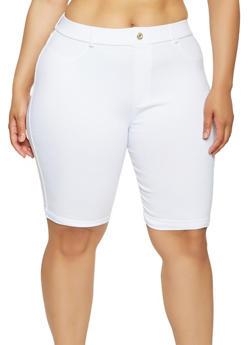 Plus Size Cuffed Stretch Bermuda Shorts - 0960063405573