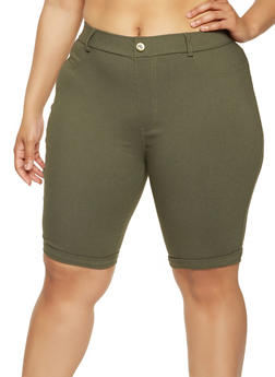 Plus Size Cuffed Stretch Bermuda Shorts - 0960063405573