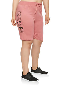 Plus Size Blessed Graphic Athletic Shorts - 0960063406538