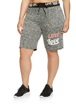 Plus Size Love Graphic Athletic Shorts - 0960063406851