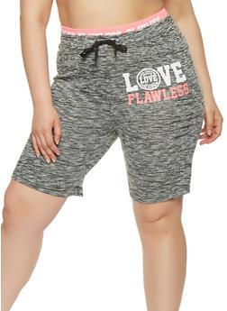 Plus Size Marled Graphic Athletic Shorts - 0960063406852