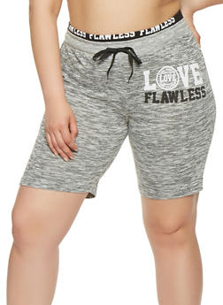 Plus Size Marled Graphic Athletic Shorts - 0960063406852