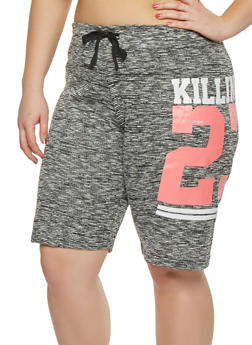 Plus Size Marled Graphic Athletic Shorts - 0960063407157