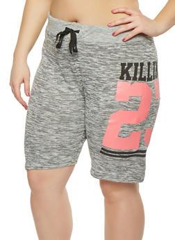 Plus Size Marled Graphic Athletic Shorts - 0960063407157