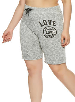 Plus Size Love Graphic Athletic Shorts - 0960063407158