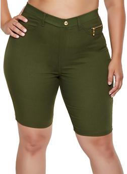 Plus Size Zip Detail Stretch Bermuda Shorts - 0960063407452