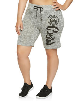Plus Size Boss Graphic Athletic Shorts - 0960063407959