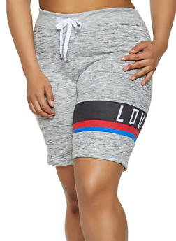 Plus Size Love Graphic Sweat Shorts - 0960063408480