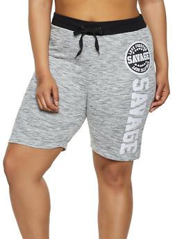 Plus Size Savage Graphic Sweat Shorts - 0960063408500