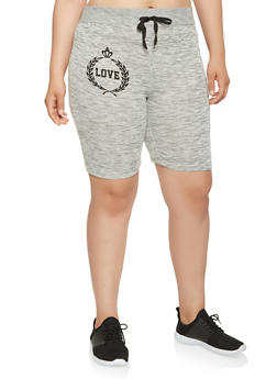 Plus Size Love Graphic Athletic Shorts - 0960063408822