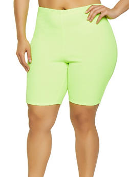 Plus Size Neon Textured Knit Bike Shorts - 0960074010036