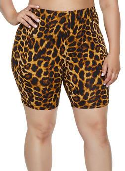 Plus Size Leopard Soft Knit Bike Shorts - Brown - Size 2X - 0960074010038