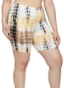 Plus Size Printed Tie Dye Bike Shorts - 0960074010073