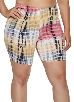 Plus Size Printed Tie Dye Bike Shorts - 0960074010073