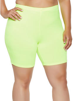 Plus Size Soft Knit Neon Bike Shorts - 0960074015006