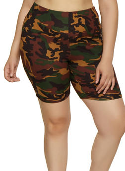 Plus Size Soft Knit Camo Bike Shorts - 0960074015007