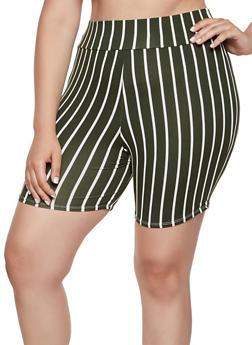 Plus Size Multi Stripe Bike Shorts - 0960074017700