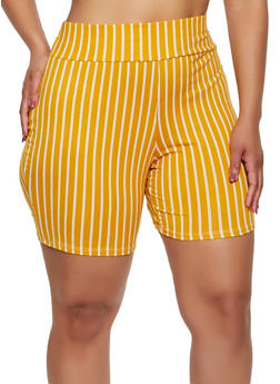 Plus Size Multi Stripe Bike Shorts - 0960074017700