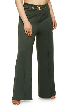 Plus Size Metallic Detail Palazzo Pants - 0961074280961
