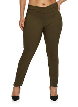 Plus Size Stitch Detail Stretch Pants - 0961074288100