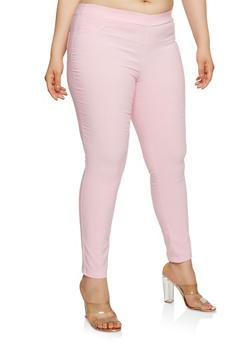 Plus Size Stitch Detail Stretch Pants - 0961074288100