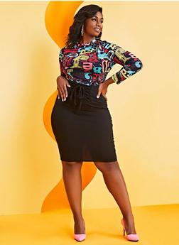 Plus Size Lace Up Pencil Skirt - 0962062705673