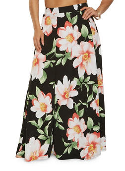 Plus Size Textured Floral Maxi Skirt - 0962074280362