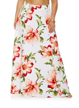 Plus Size Textured Floral Maxi Skirt - 0962074280362