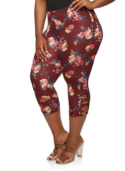 Plus Size Floral Capri Leggings - 0965001440073