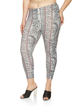 Plus Size Printed Capri Leggings - 0965001440169