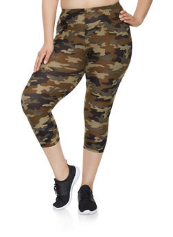 Plus Size Camo Capri Leggings - 0965001441126