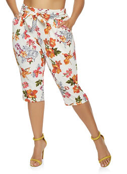 Plus Size Floral Capri Dress Pants - 0965056570003