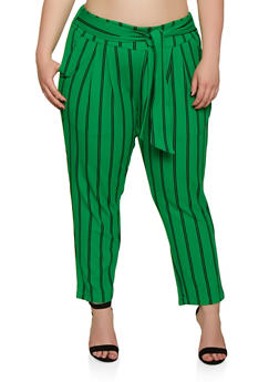 Plus Size Tie Front Striped Dress Pants - 0965056570460