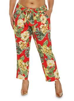 Plus Size Floral Tie Waist Pants - 0965056571395