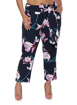 Plus Size Floral Tie Front Pants - 0965056571443