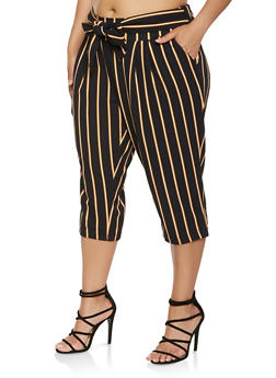 Plus Size Tie Waist Striped Capris - 0965056571458