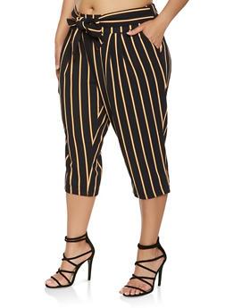 Plus Size Tie Waist Striped Capris - 0965056571458