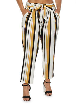 Plus Size Striped Tie Front Pants - 0965056571473