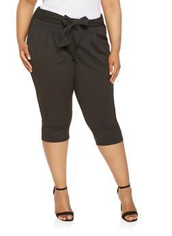 Plus Size Tie Waist Capri Pants - 0965056574477