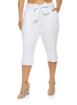 Plus Size Tie Waist Capri Pants - WHITE - 0965056574477