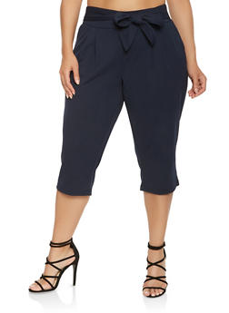 Plus Size Tie Waist Capri Pants - NAVY - 0965056574477