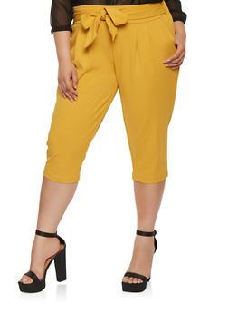 9259fe512d4 Plus Size Tie Waist Capri Pants - 0965056574477