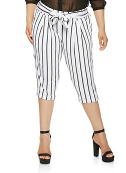 Plus Size Striped Capri Dress Pants - 0965056577004
