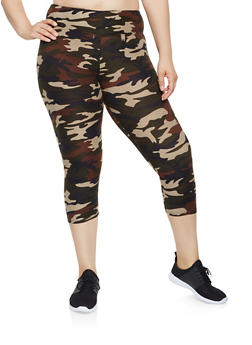 Plus Size Camo Capri Leggings - 0965060580074