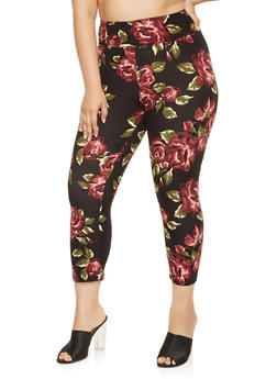 Plus Size Floral Capri Leggings - 0965060582423